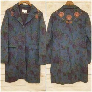 Vintage Armand Ventilo Navy Floral Beaded Coat 46